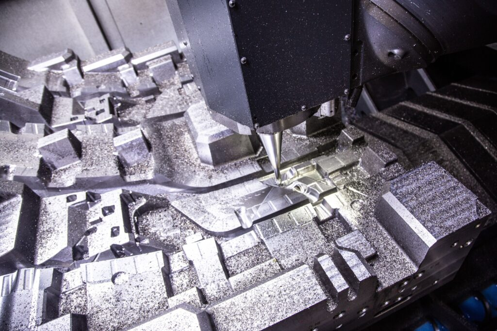Close up on injection mold cutter